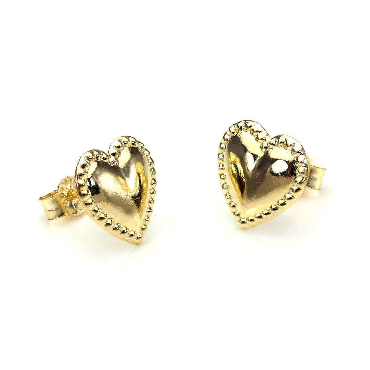 9ct Yellow Gold Beaded Heart Stud Earrings