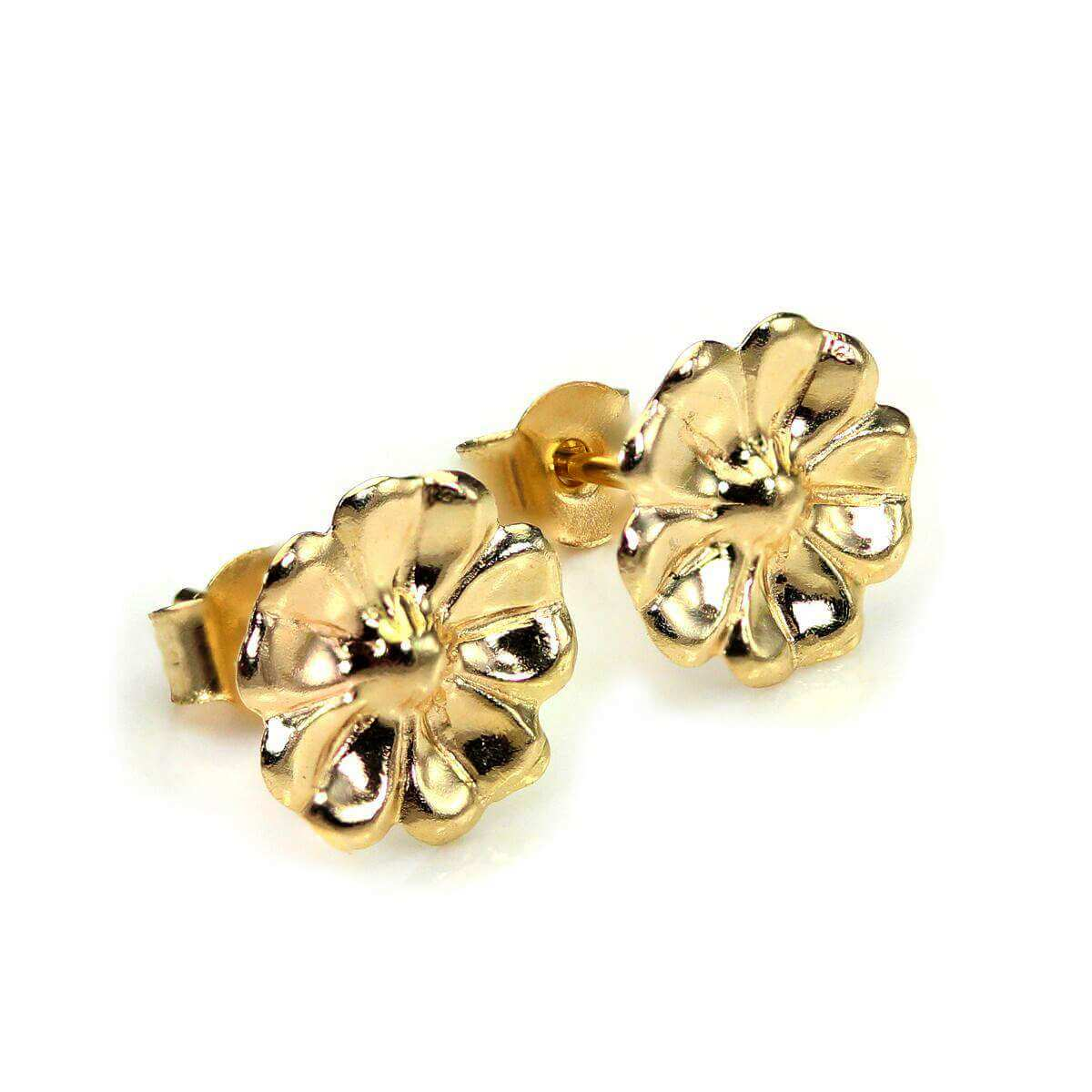 9ct Yellow Gold Flower Stud Earrings