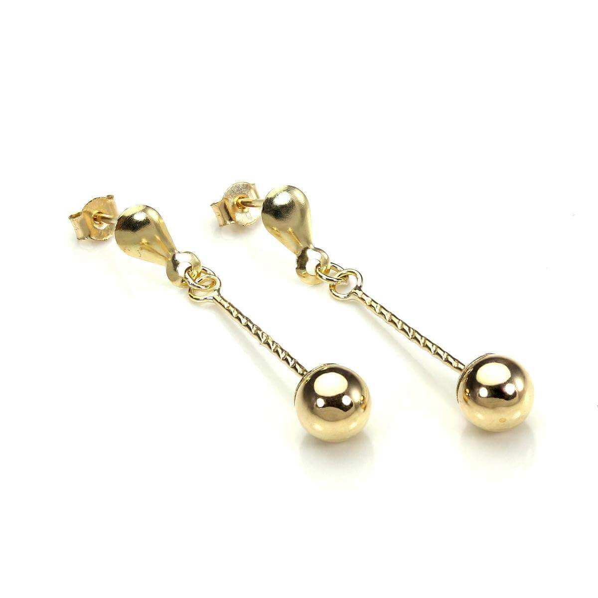 9ct Yellow Gold 5mm Ball Drop Stud Earrings