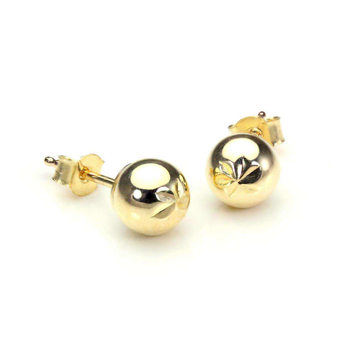 9ct Yellow Gold 5mm Diamond Cut Ball Stud Earrings