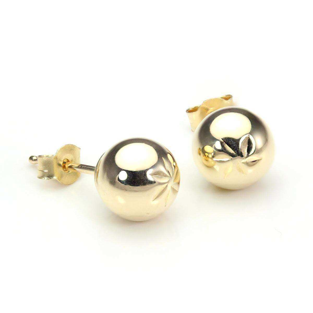 9ct Yellow Gold 6mm Diamond Cut Ball Stud Earrings