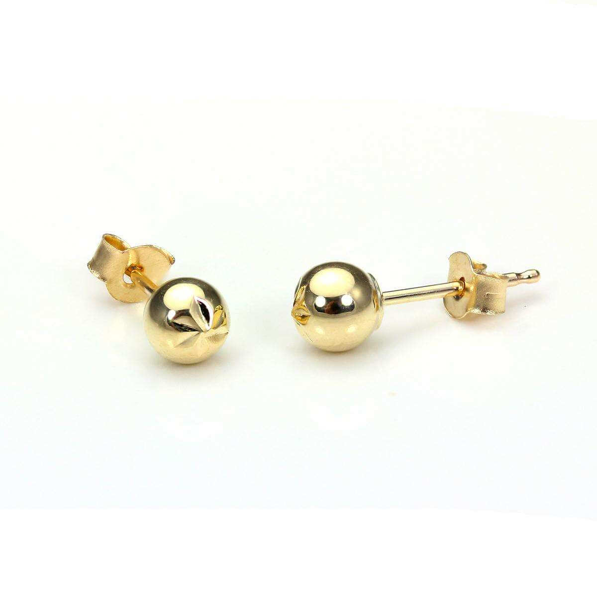 9ct Yellow Gold 4mm Diamond Cut Ball Stud Earrings