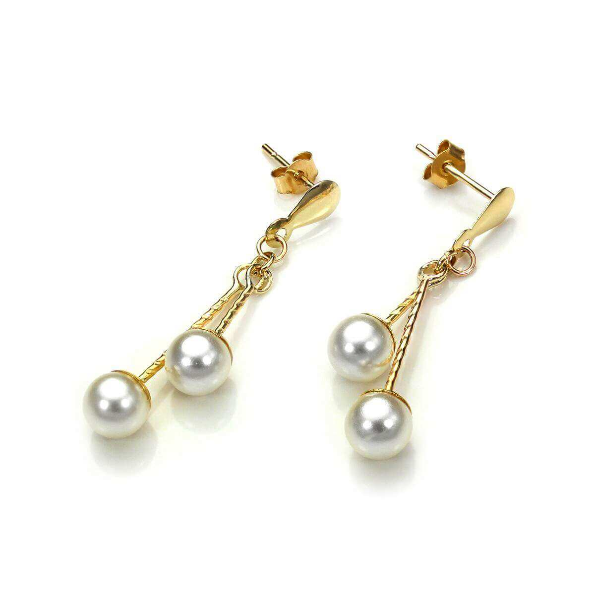 9ct Yellow Gold Simulated Pearl Drop Earrings