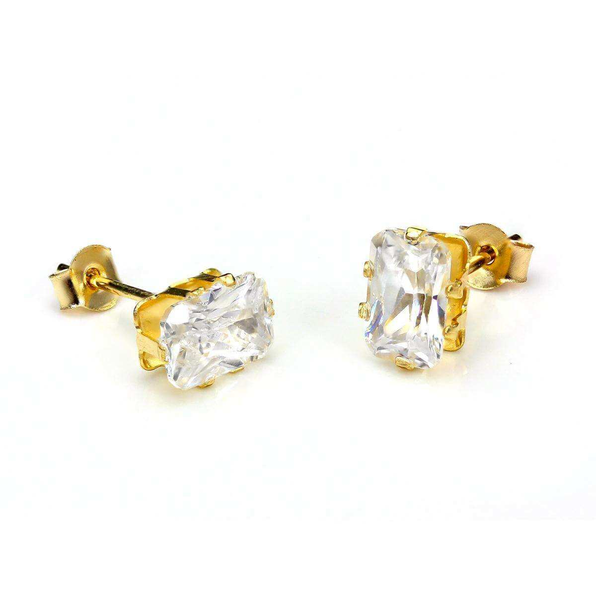9ct Yellow Gold Clear Crystal Rectangular Stud Earrings