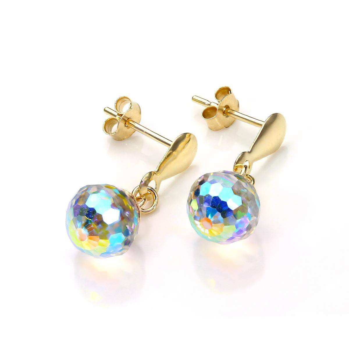 9ct Yellow Gold Aurora Borealis Crystal Faceted Stud Earrings
