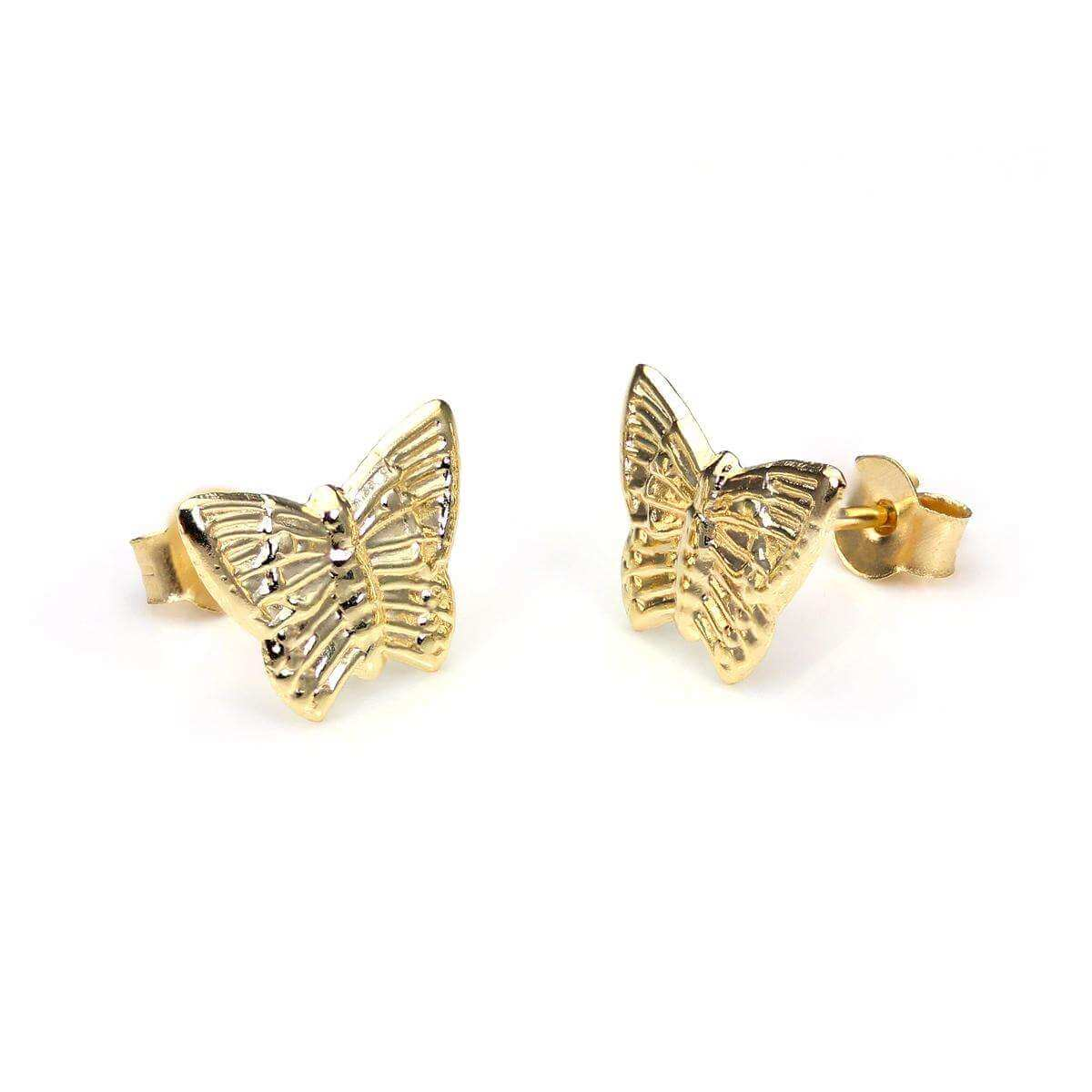 9ct Yellow Gold Flat Butterfly Stud Earrings