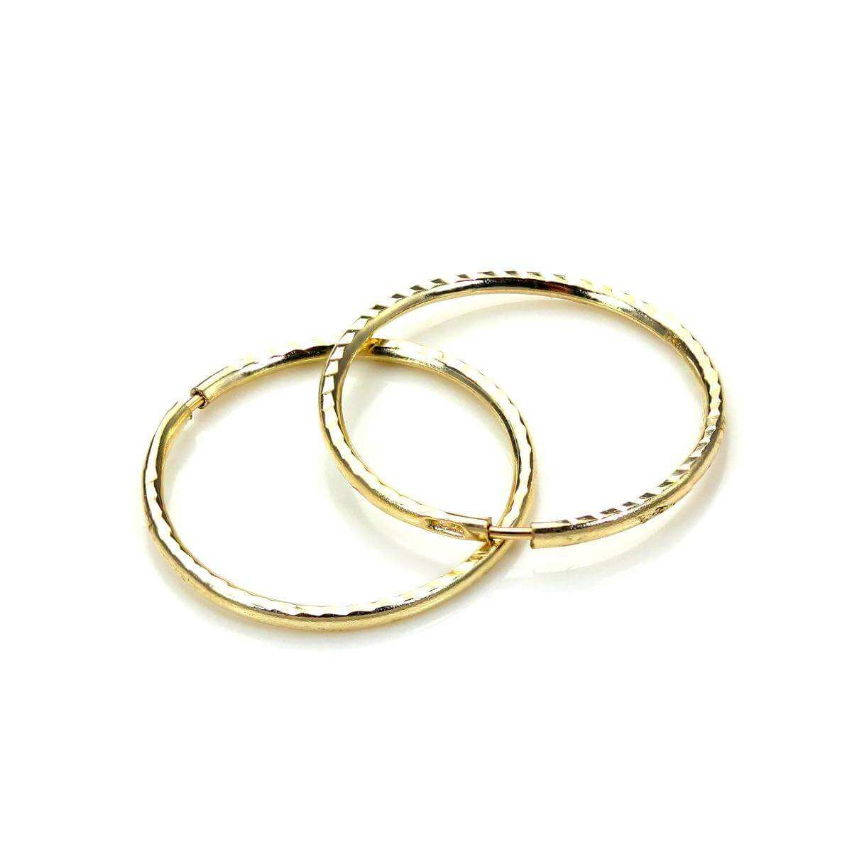 9ct Yellow Gold 13mm Diamond Cut Hoop Earrings