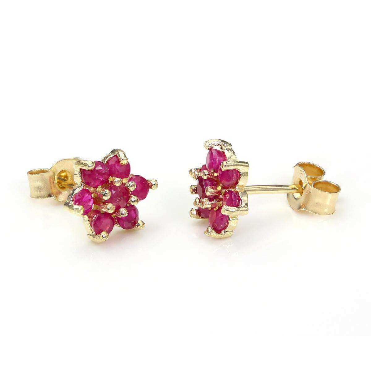 9ct Yellow Gold Ruby Flower Petal Stud Earrings