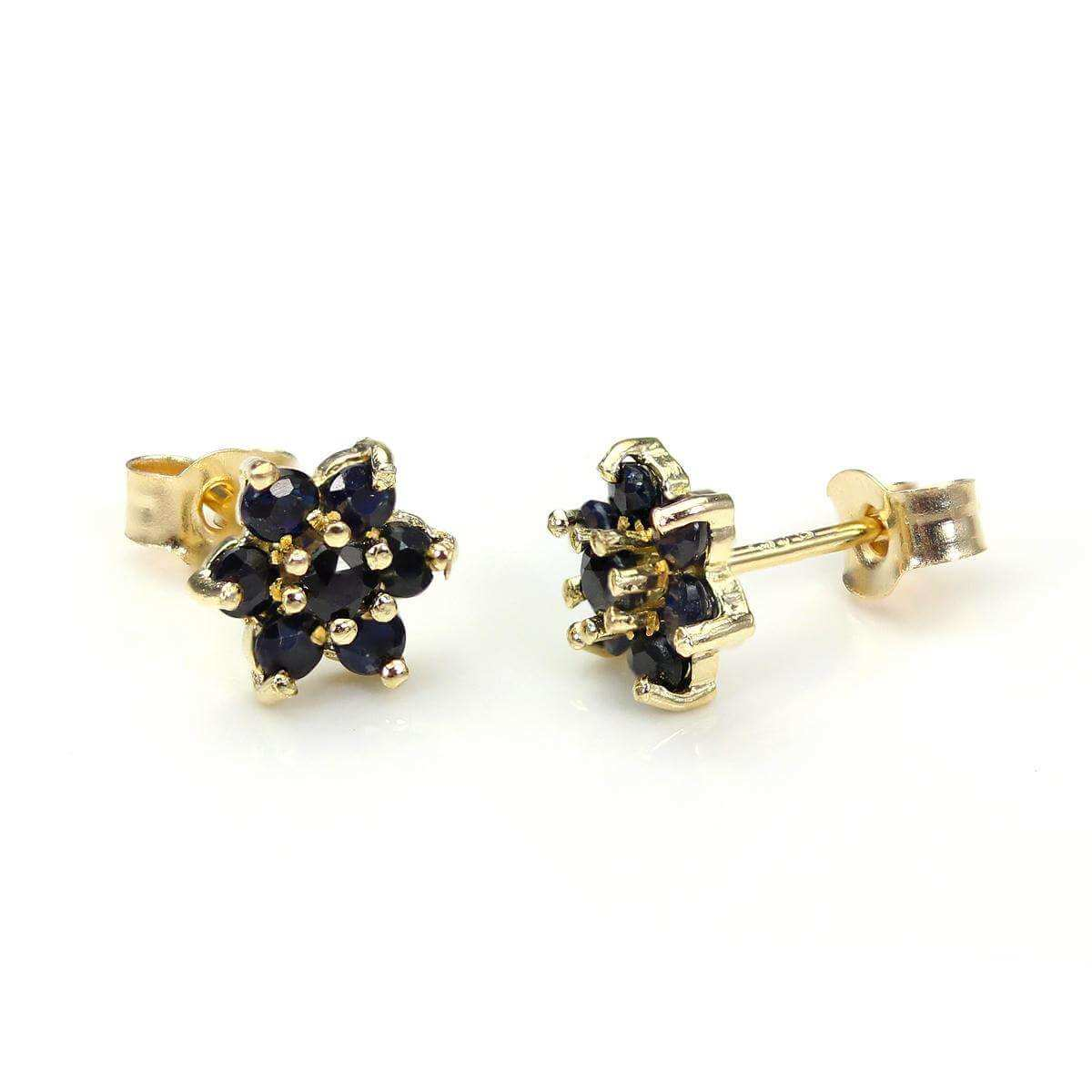 9ct Yellow Gold Sapphire Flower Petal Stud Earrings