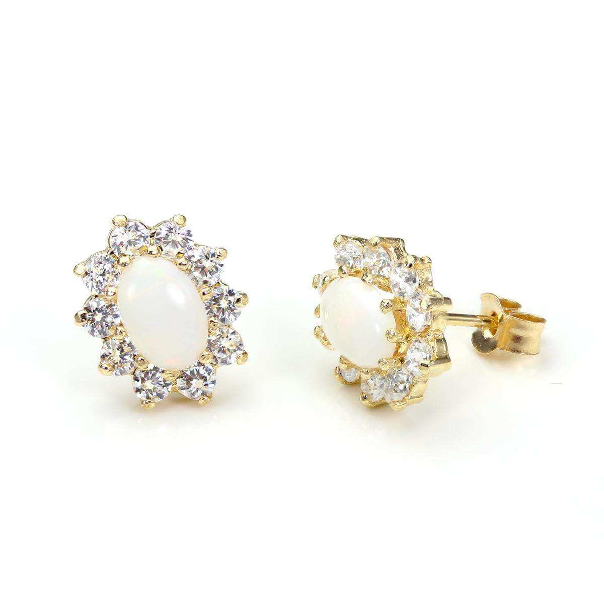 9ct Yellow Gold Opal Oval Stud Earrings