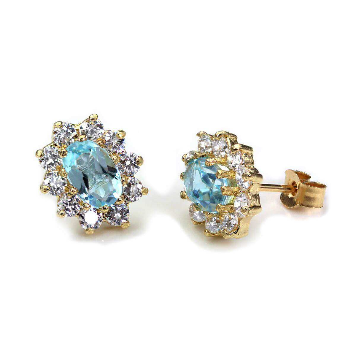 9ct Yellow Gold Sky Blue Topaz Oval Stud Earrings