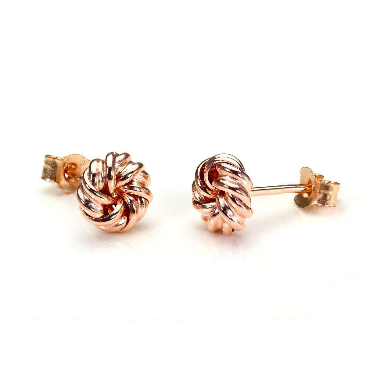 9ct Rose Gold 6mm Round Knot Stud Earrings