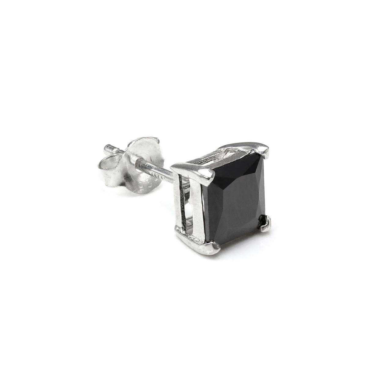 Sterling Silver Square 6mm Black CZ Crystal Mens Ear Stud