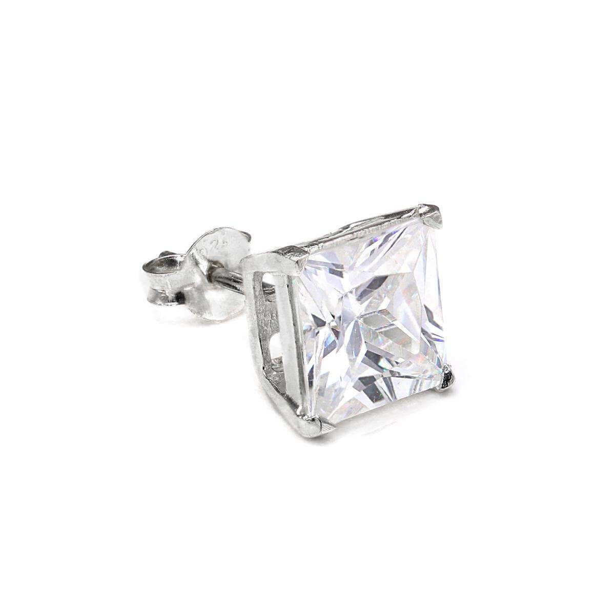 Sterling Silver Square 8mm Clear CZ Crystal Mens Ear Stud