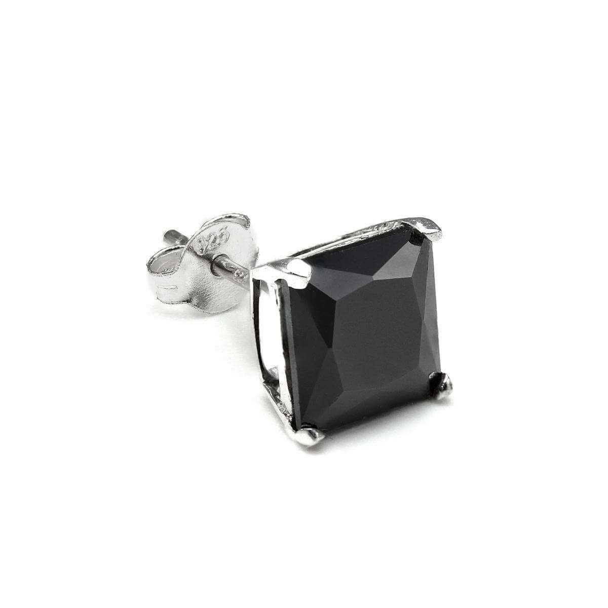 Sterling Silver Square 8mm Black CZ Crystal Mens Ear Stud