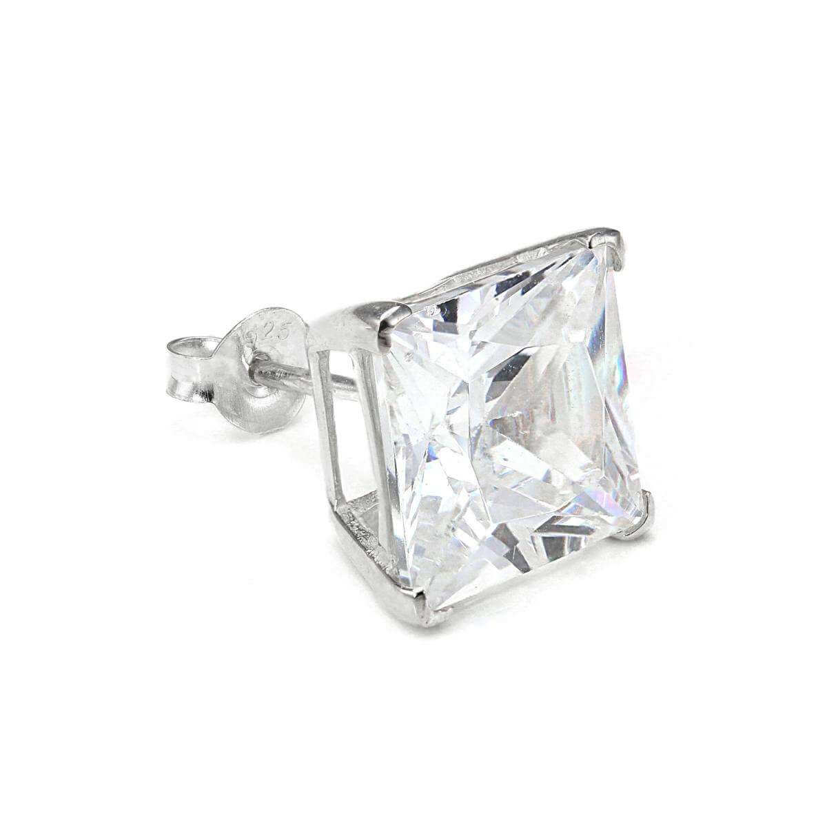 Sterling Silver Square 10mm Clear CZ Crystal Mens Ear Stud
