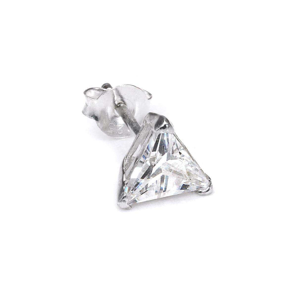 Sterling Silver Triangular Clear 8mm CZ Crystal Mens Ear Stud