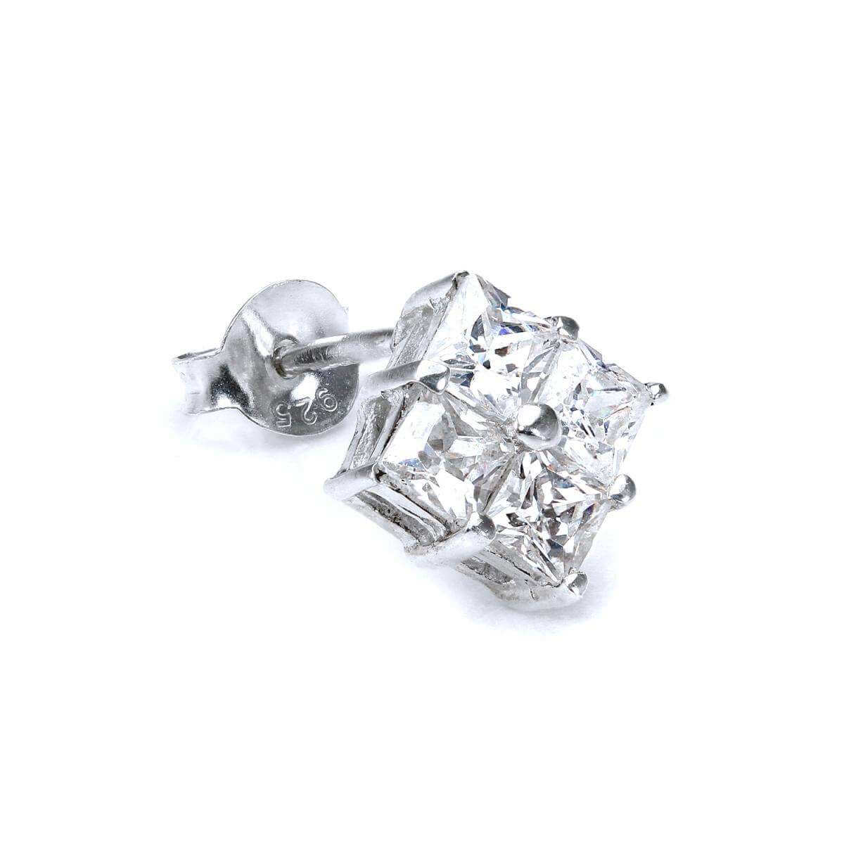 Sterling Silver Quad Clear 6mm CZ Crystal Mens Ear Stud