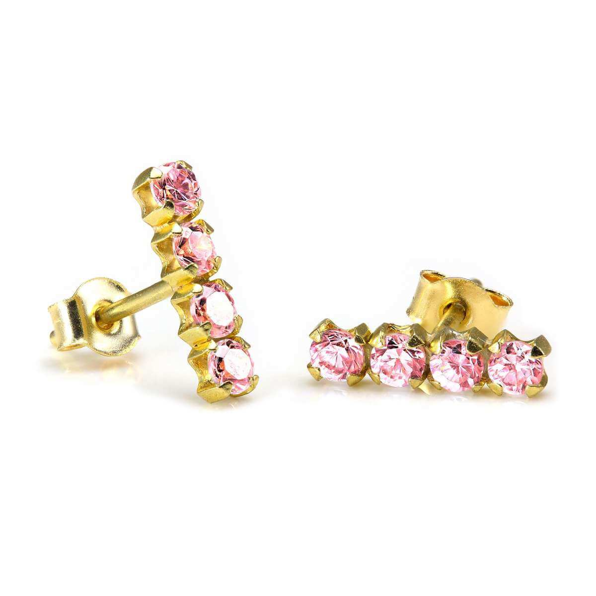 9ct Gold & 2mm Pink CZ Crystal Stud Earrings