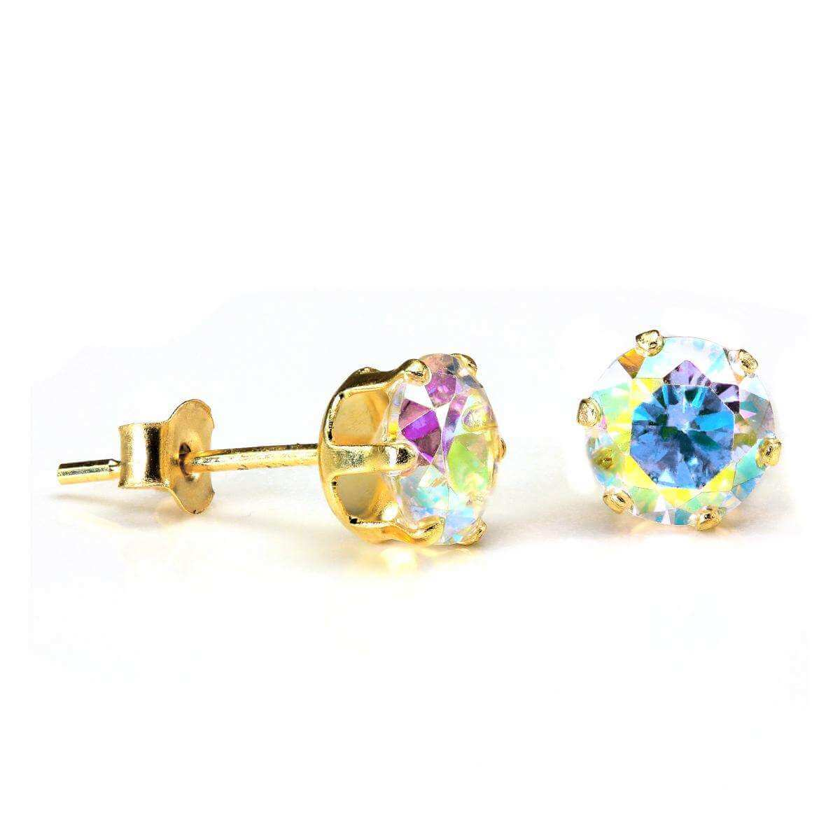 9ct Gold & 5mm Round Aurora Borealis Crystal Stud Earrings