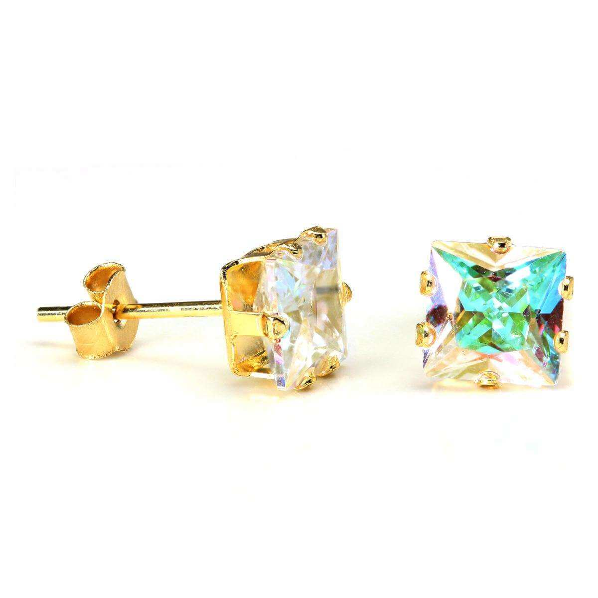 9ct Gold & 6mm Square Aurora Borealis Crystal Stud Earrings