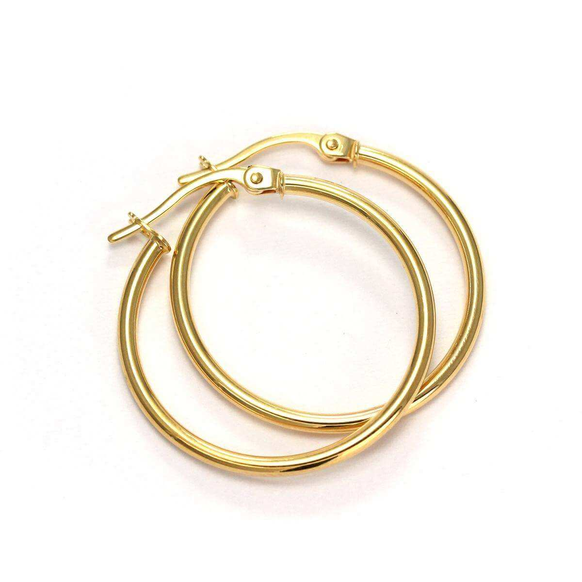 9ct Gold 21mm Sleeper Hoop Earrings