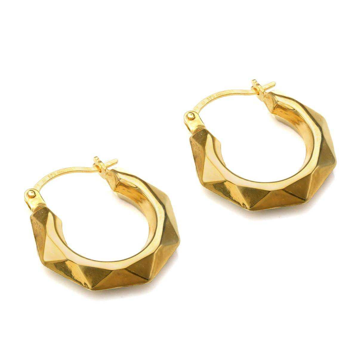 9ct Gold Faceted Fancy Creole Hoop Earrings