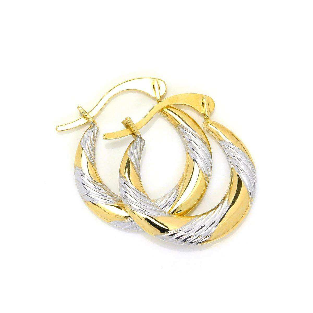 Small 9ct White & Yellow Gold Twisted Creole Hoop Earrings