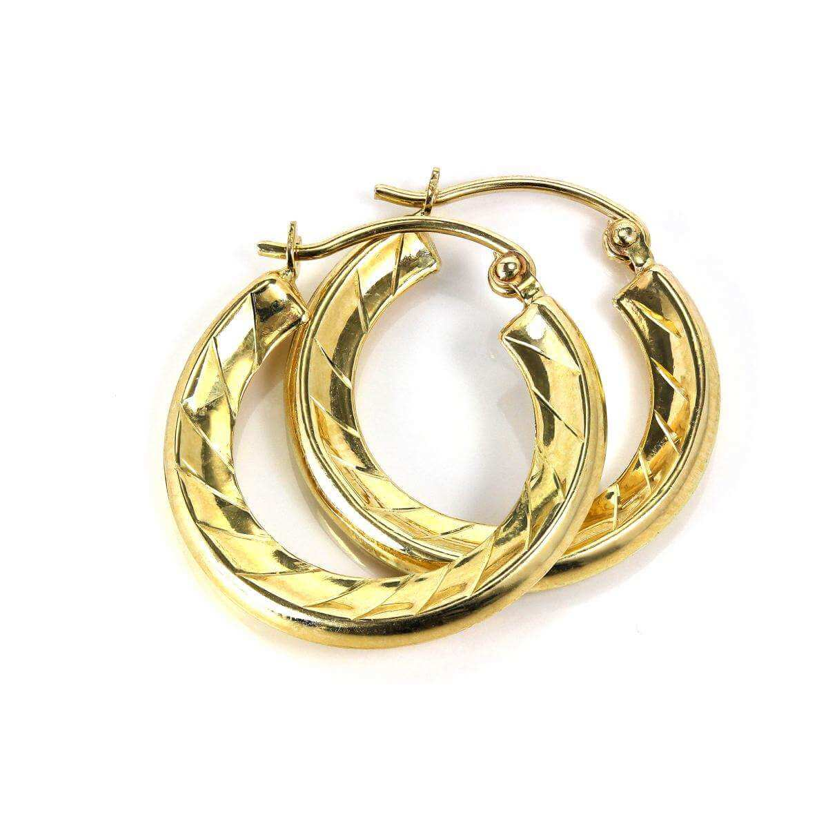 9ct Gold Light Textured Spiral 12mm Creole Hoop Earrings