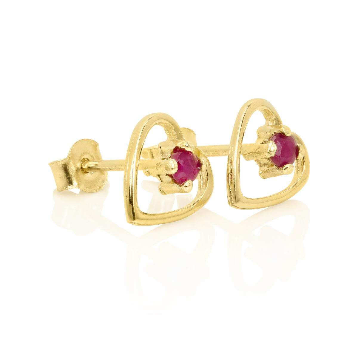9ct Gold & 2mm Ruby Gemstone Open Heart Stud Earrings