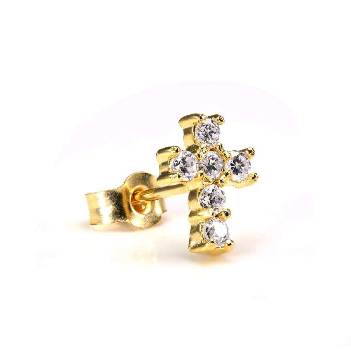 Small 9ct Gold & CZ Crystal Encrusted Mens Cross Ear Stud Earring