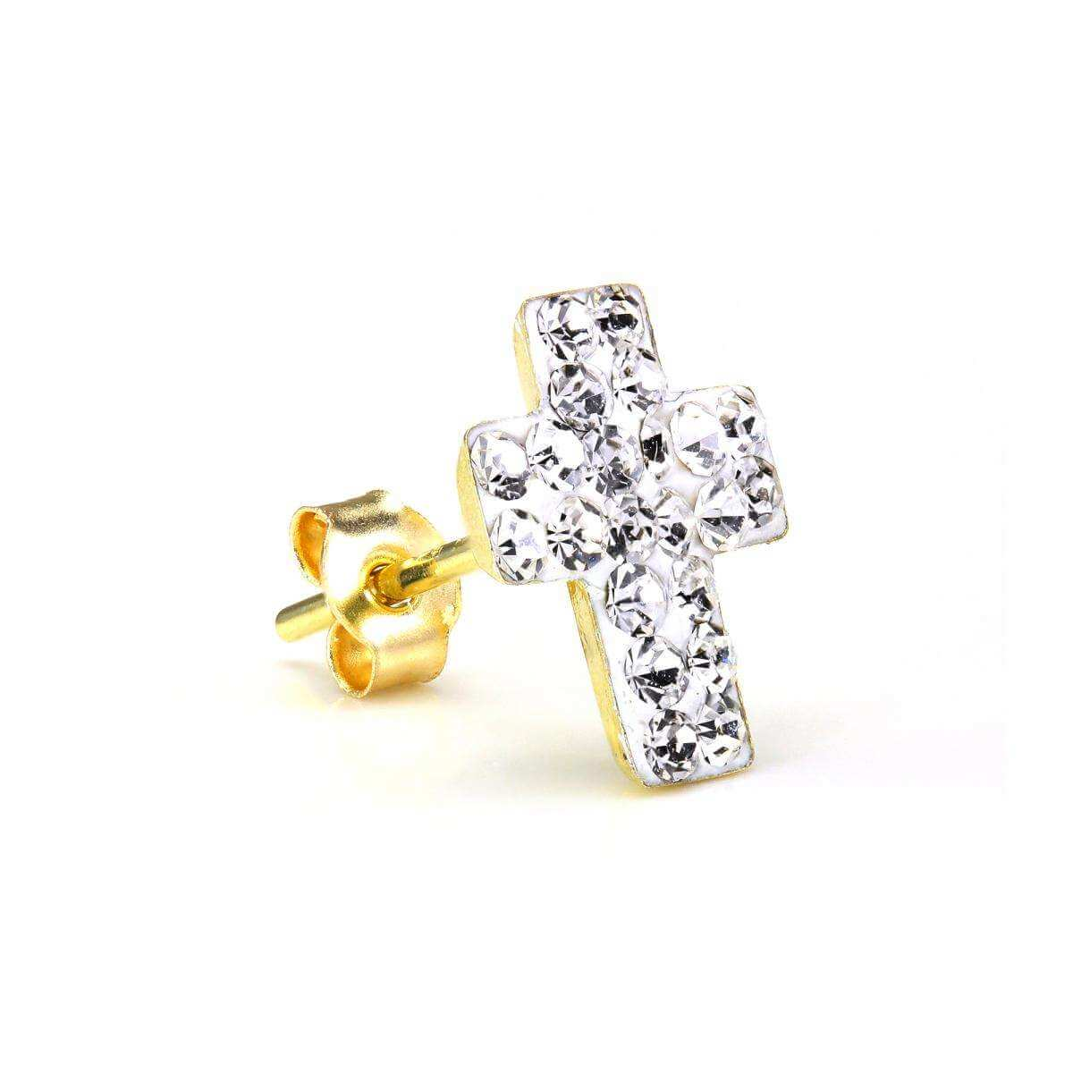 9ct Gold & CZ Crystal Encrusted Mens Single Cross Ear Stud Earring