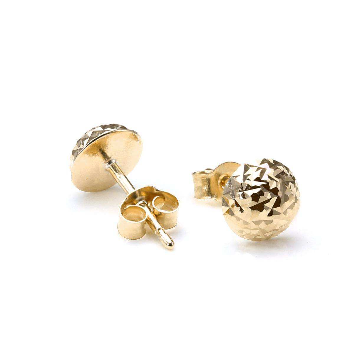 9ct Gold 6mm Round Faceted Domed Stud Earrings