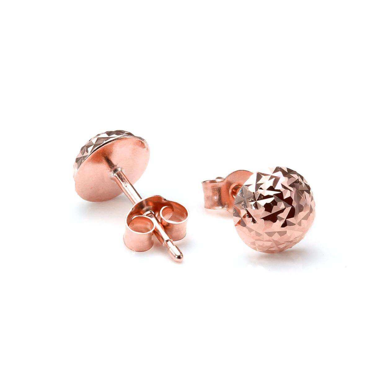 9ct Rose Gold 6mm Round Faceted Domed Stud Earrings