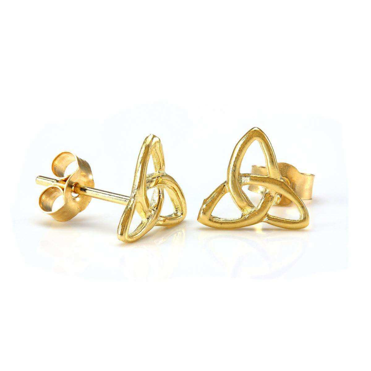 9ct Gold Triangular Celtic Knot Stud Earrings