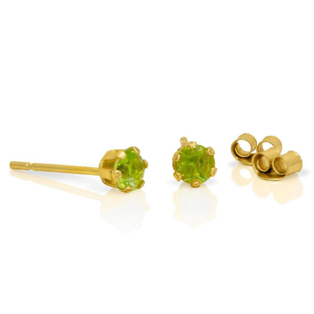 9ct Gold & 3mm Round Peridot Gemstone Stud Earrings