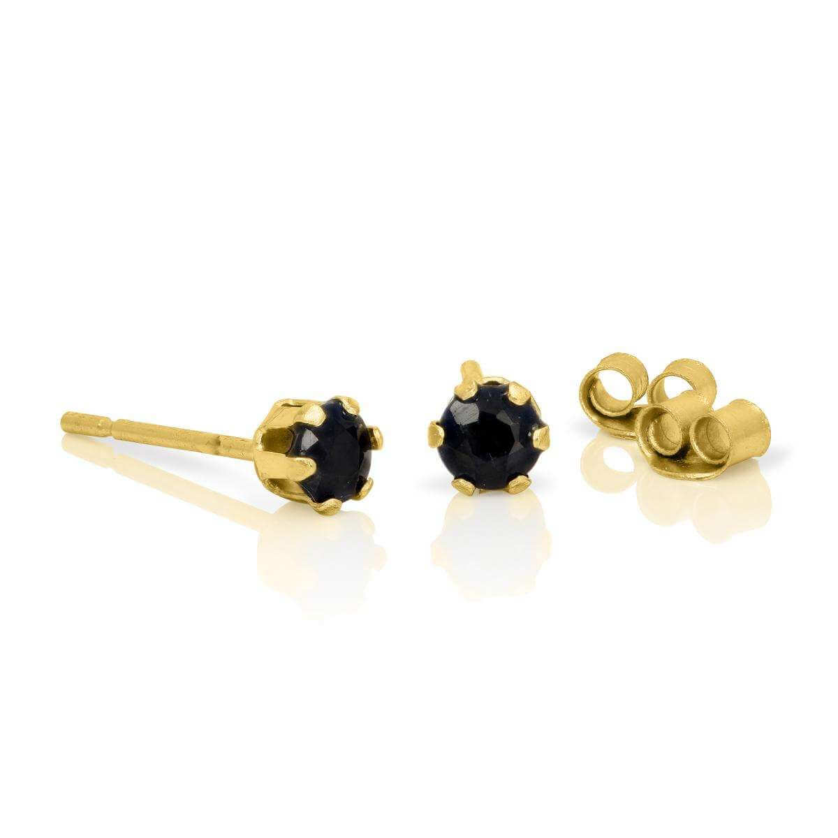 9ct Gold & 3mm Round Sapphire Gemstone Stud Earrings