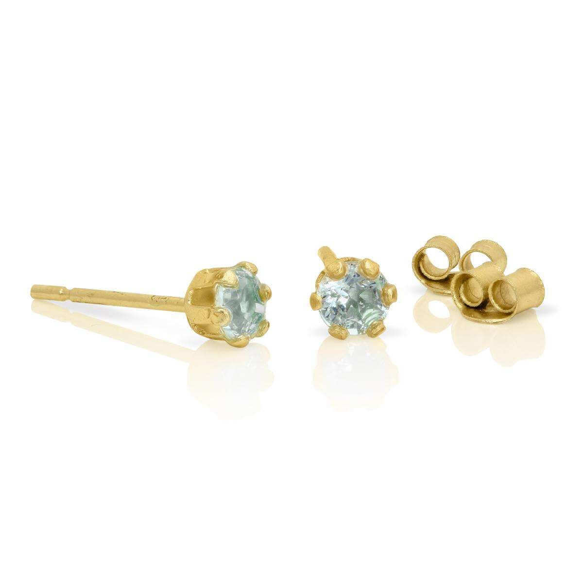 9ct Gold & 3mm Round Sky Blue Topaz Gemstone Stud Earrings