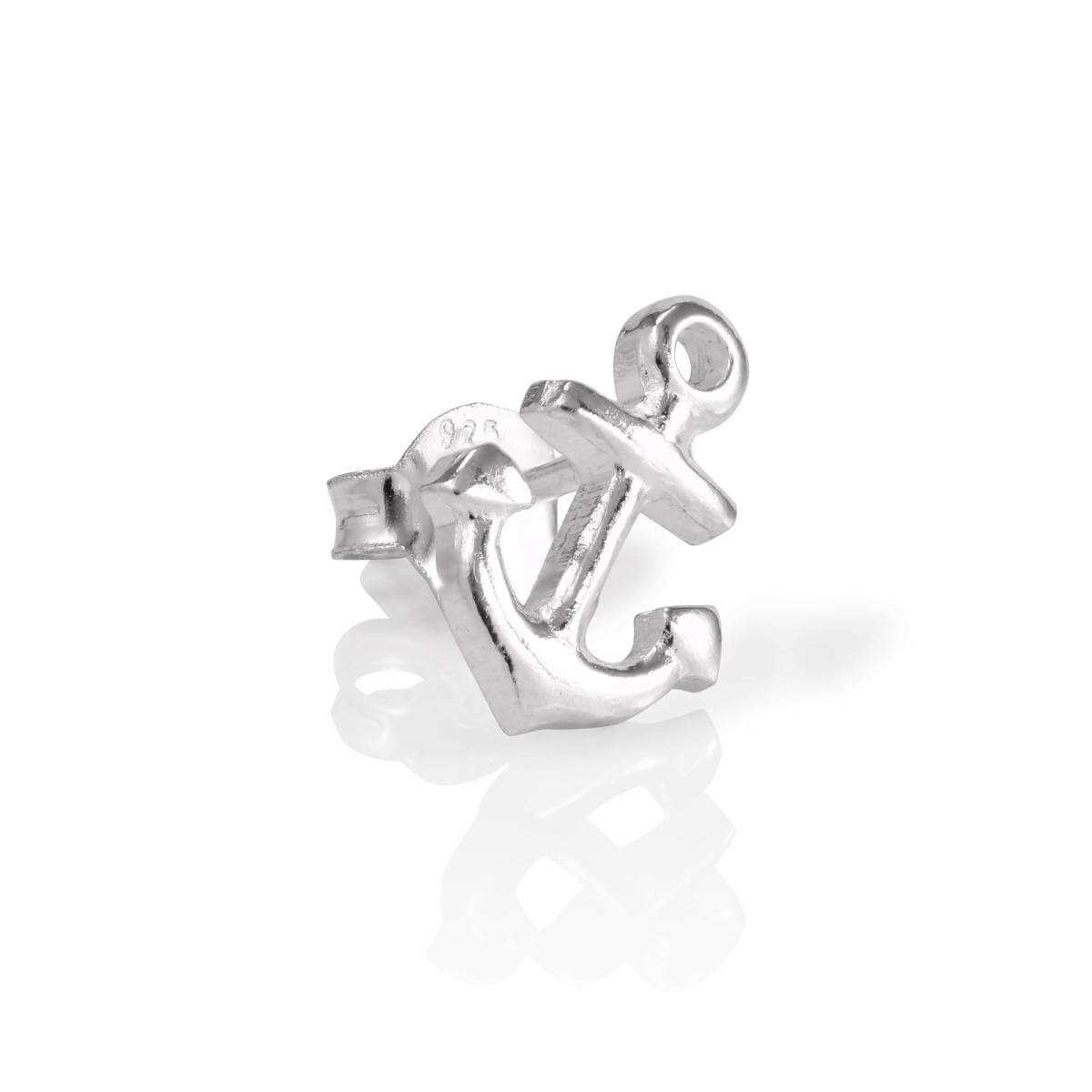 Sterling Silver Mens Single Anchor Ear Stud Earring