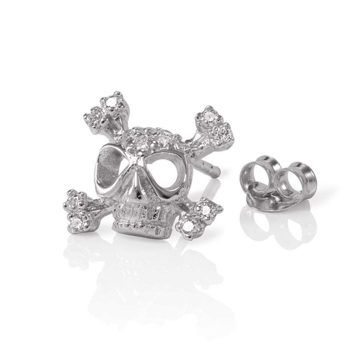 Sterling Silver Mens CZ Crystal Encrusted Single Skull Ear Stud Earring