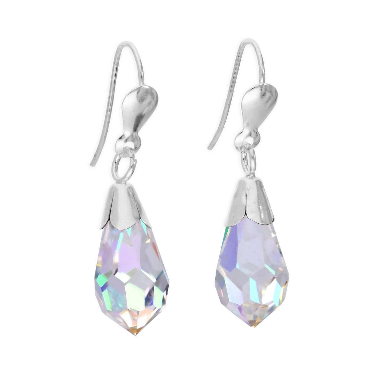 Sterling Silver & Aurora Borealis Crystal Drop Wire Earrings