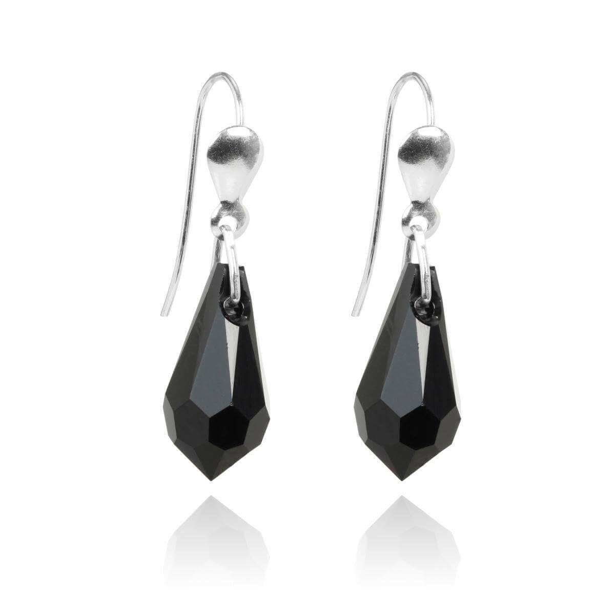 Sterling Silver & Jet Black Crystal Drop Wire Earrings