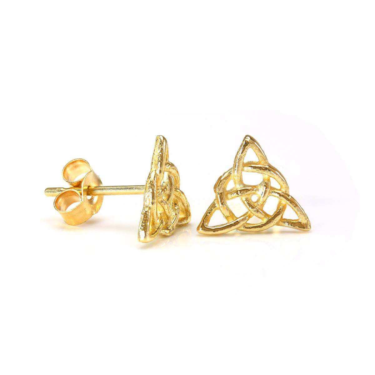 9ct Gold Irish Triangular Celtic Knot Stud Earrings
