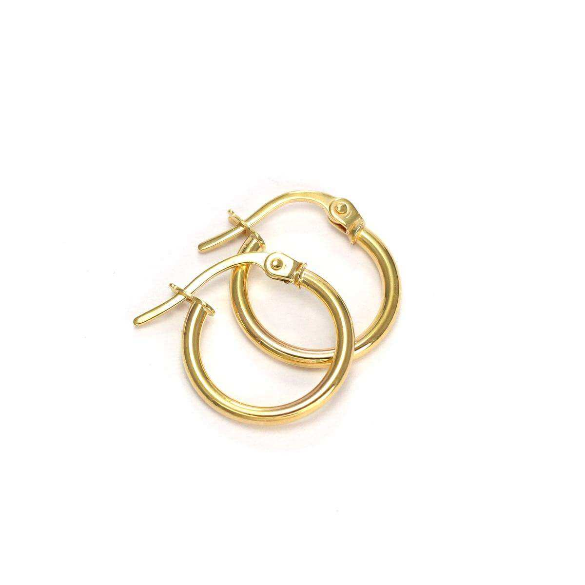 9ct Gold 10mm Sleeper Hoop Earrings