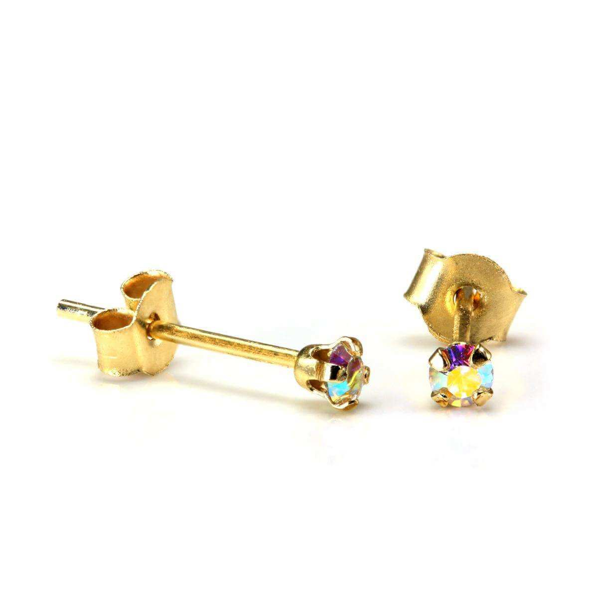 9ct Gold 2mm Round Aurora Borealis Crystal Stud Earrings