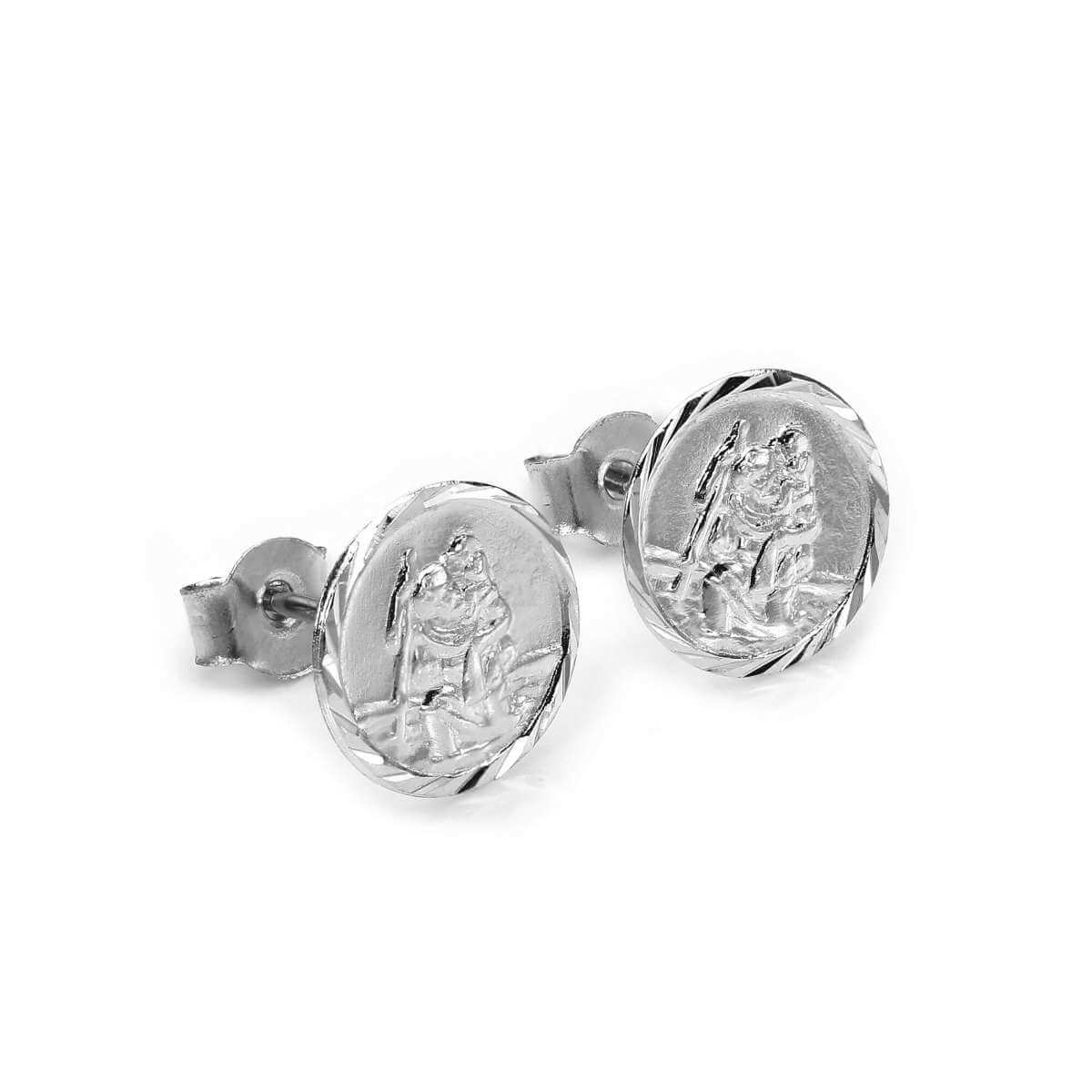 Sterling Silver St Christopher Medal Stud Earrings