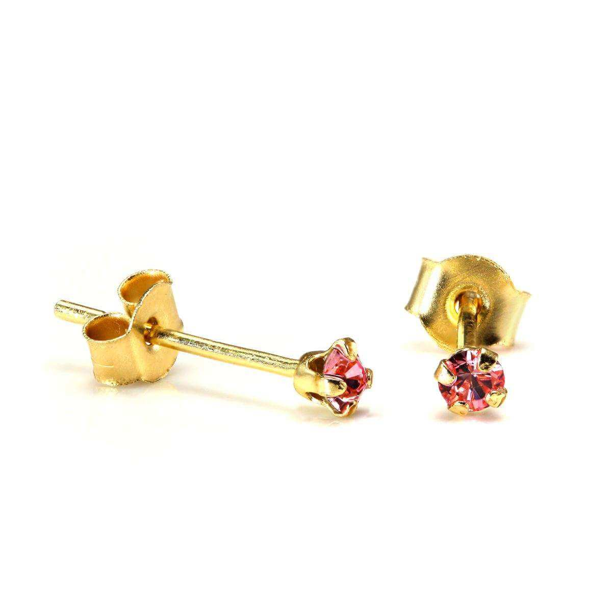 9ct Gold 2mm Round Rose Crystal Stud Earrings