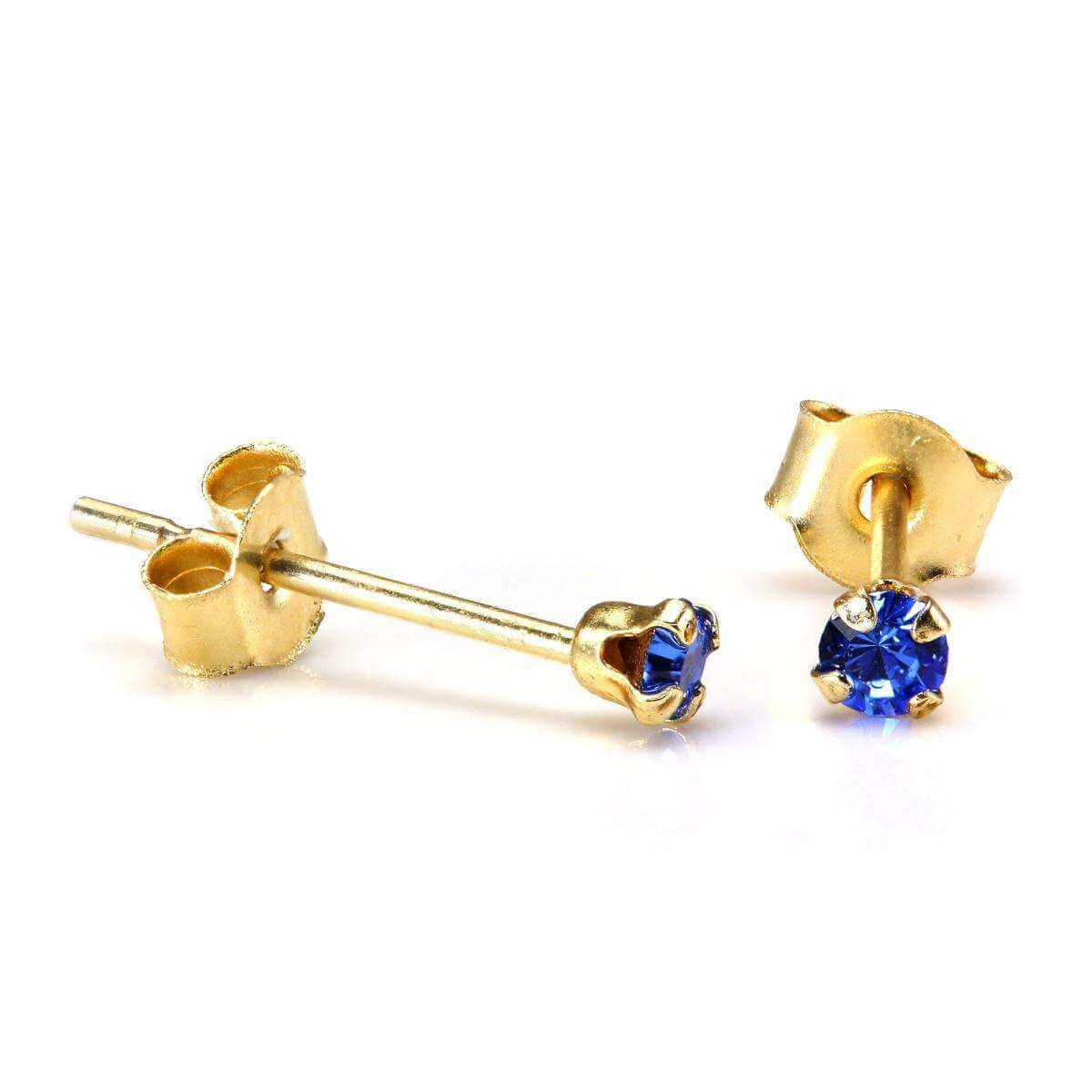 9ct Gold 2mm Round Sapphire Crystal Stud Earrings