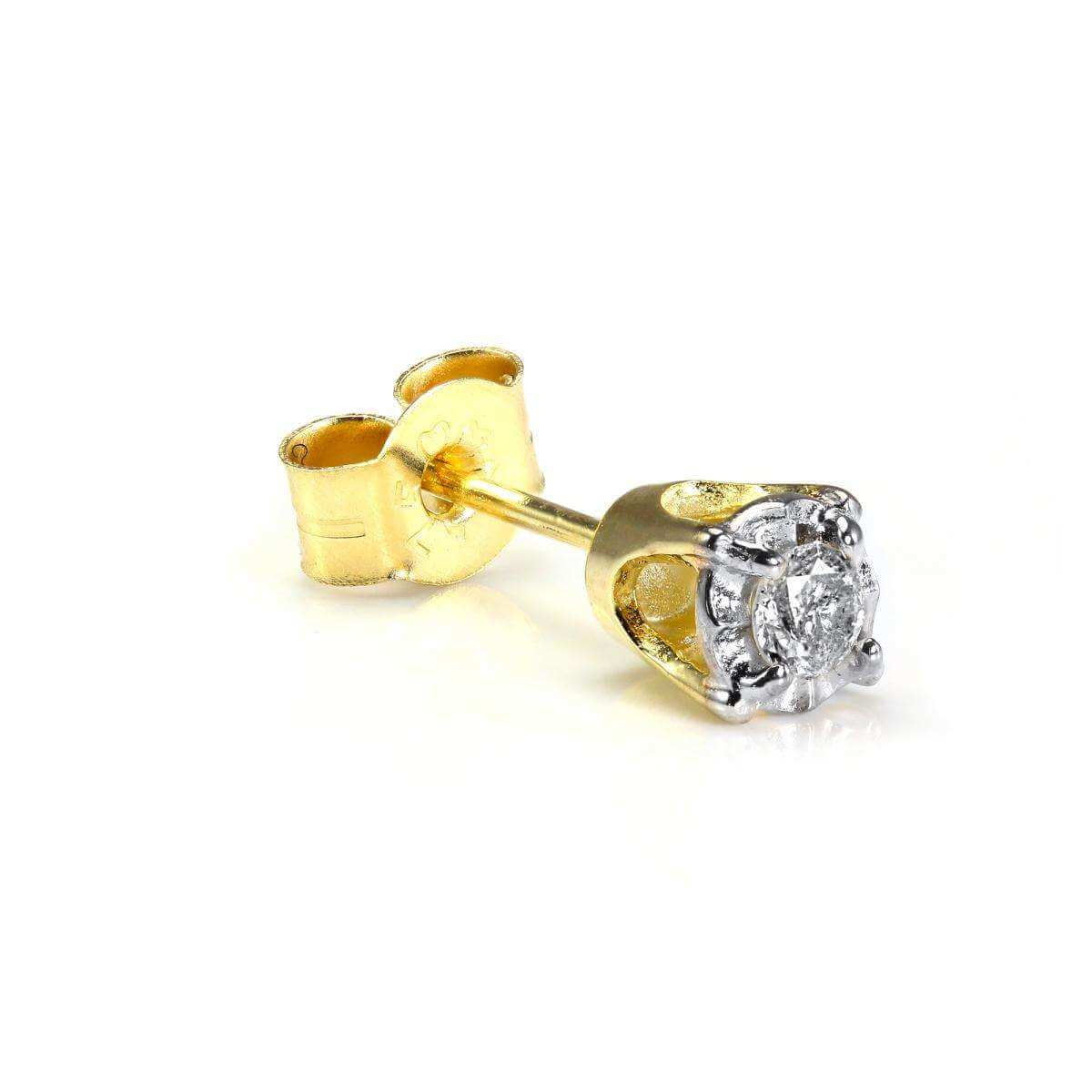 9ct Gold 0.05ct Diamond Square Mens Ear Stud Earring