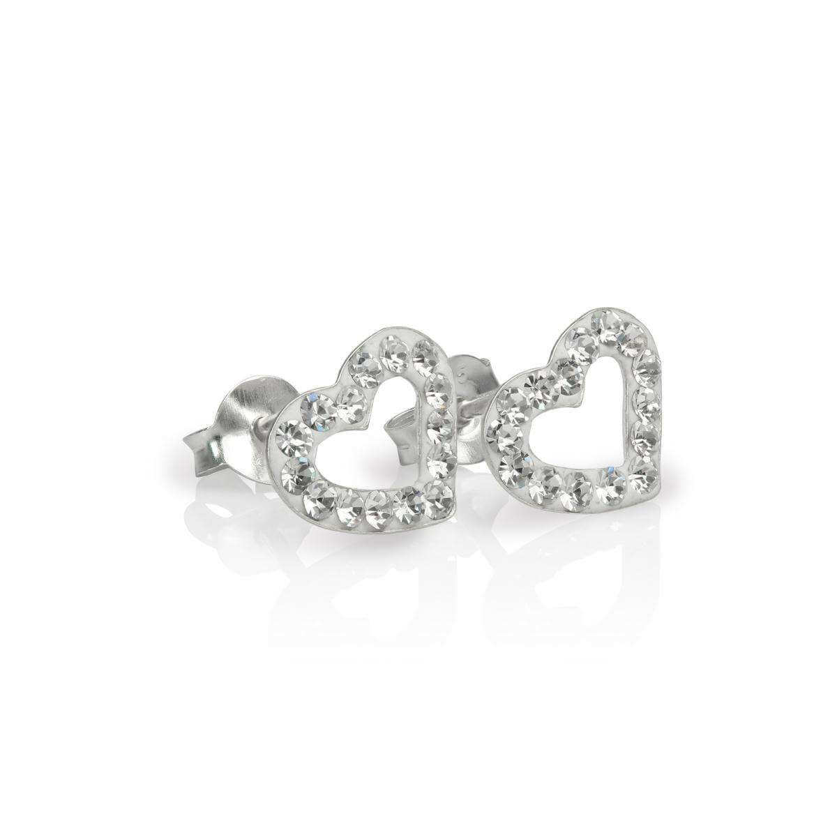 Sterling Silver & Clear CZ Crystal Encrusted Open Heart Stud Earrings